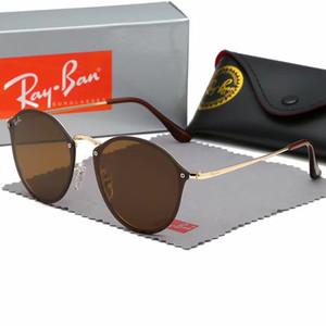 فاخر سائق راي الاستقطاب النظارات الشمسية الرجال النساء الطيار النظارات الشمسية UV400 نظارات الطيار نظارات حالة حظر الإطار المعدني بولارويد عدسة صندوق # 3574
