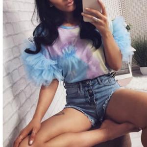 2019 Kadınlar Mesh Puff Kol T-shirt Kısa Kollu O-boyun Leopar Casual Slim En