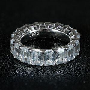 Wedding Cut 100% Couple Jewelry Real Women 925 Sterling Silver Big Princess Gemstones White Rings CZ Ring Luxury Topaz 2PCS Bridal Diam Bjke