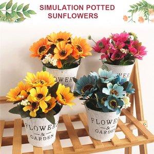 Simulierte Sunflower Eisen Eimer Garten Schöne künstliche Anlage simuliert Topfpflanzen aus Kunststoff Schule Büro Ornament