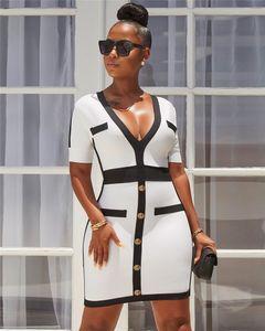 Womens Designer Panelled Kleid Sexy V-Ausschnitt, figurbetontes Kleid beiläufige dünne weibliche OL Kleidung
