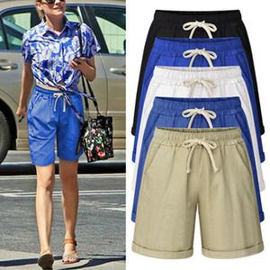 New Summer Fashion Womens Ladies Elastic Waist Drawstring Casual Hot Pants Bermuda Capri Shorts Plus Size M-7XL