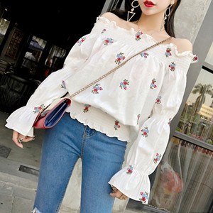 Real Photos Women Ruffled Slash Collar Embroidery Floral White Sweet Blouses Shirts Female Chic Off Shoulder Tops Blouses Girls