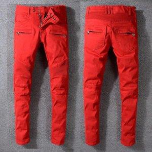 Mens Fold klassische rote Röhrenjeans Modedesigner Plissee getäfelten Reißverschluss Slim Fit Motorrad Biker Hip Hop Jeans