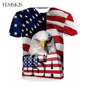 Patrón de nuevo de la manera de la bandera de American Eagle 3D camiseta impresa de los hombres del verano impresión de las mujeres camiseta de manga corta