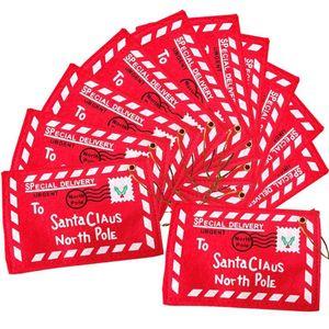 Regalos de Navidad de Santa Claus Red Envelope Greet colgante Decoración de Navidad Bolsas de Navidad Tarjetas de chicas Escuela de boda para el Hogar