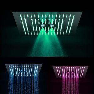 Luxe douche pluie Systèmes pomme de douche LED Concealed massage chute d'eau Robinets 4 pouces Body Spray Jets pour salle de bain Ensemble douche