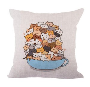 Cartoon Cat Coffee Neck Body Pillowcase Linen Bed Pillows Cover Couch Seat Cushion Throw Pillow Home Decoration Gift