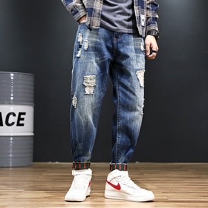 Mens Denim-Jeans-lose Art-Denim-Hosen Männlich Jogger Jeans beiläufige Art Stretch Elastic Jean-Bleistift-Hosen