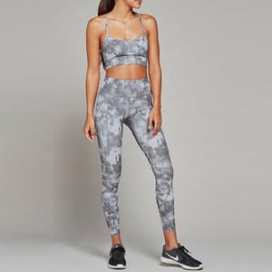 Femmes Impression Yoga Ensemble Sport Suit Formation Haut Pantalon Sportswear En Plein Air Fitness Running Vêtements Dropship
