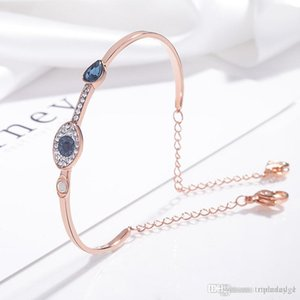 Natural crystal evil eye bracelet European and American fashion elegant blue eye 925 sterling silver cuff bracelet women luxury jewelry gift