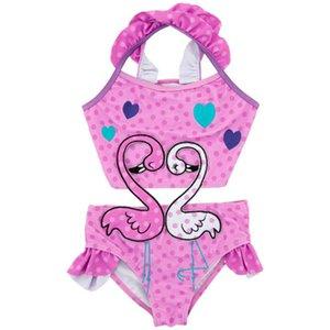 Bebé Infantil Niños Dibujos Animados Flamingo Impreso Bikini Bebé Rosa Punto de Onda Corazón Traje de baño Traje de baño de una pieza Traje de baño en la playa 12M-8 años