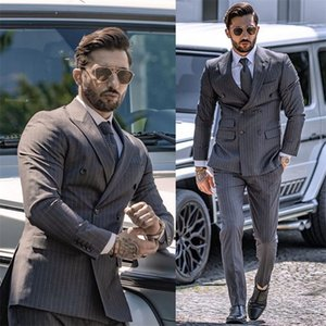 2020 Two-piece Gray Cotton Blend Wedding Tuxedo Notched Lapel Double Breasted Slim Fit Formal Men Suits Stripe Custom Made Bridegroom Blazer