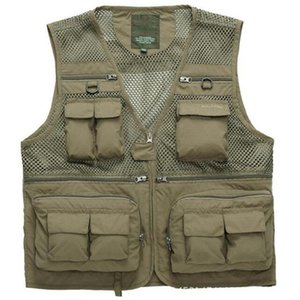 Men Fishing Vests Quick Dry Breathable Multi Pocket Mesh Jackets Photography Hiking Vest