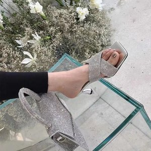 Kadınlar Sandalet Terlik Seksi Parti İçi Boş Terlik Slaytlar On Thin Yüksek Topuklar Slaytlar Bayanlar Bling Rhinestone Tasarım Slip, pompaları
