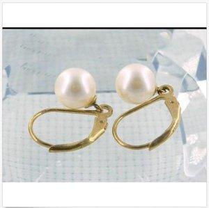 ein Paar 7,5 mm ++ Grade weiße Akoya Runde Perle Ohrhänger 14K Hebel zurück