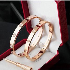 El amor de los brazaletes 316L de acero de titanio hombres de las mujeres Tornillo Destornillador pulseras de oro rosa joyas pareja de regalo con el sistema de la caja