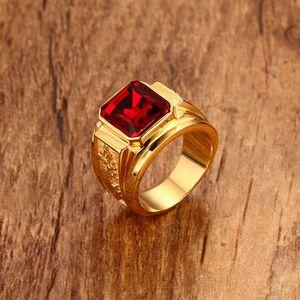 SQUARE RED STONE HIP-HOP uomini anello a Golden ACCIAIO INOX INCIDE DRAGON ANELLI MENS GIOIELLI