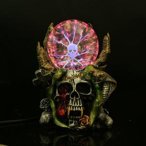 [Funny Devil Skeleton hand Electrostatic Plasma Ball Sphere Light Magic Crystal holiday Lamp Household Office Desktop Decoration