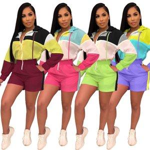 2019 여성 뉴 여름 다채로운 패치 워크 지퍼 위로 긴 소매 후드 짧은 Jumpsuit Active Wear Playsuit Romper 4 색