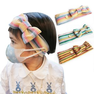 DHL shipping Cotton Headbands for Kids Bow Knotted Mask Buttons Headband Child Sport Fitness Sweatband Elastic Hair Bands for Girls L213FA