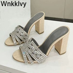 Bling bling chunky high heel sandals party dress slippers women shiny crystal decor summer sexy shoes 2020 zapatillas mujer