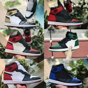 Satış 2019 Yeni Yüksek OG Orta Erkek 1 Basketbol Ayakkabı Retroes Kraliyet Yasaklı Gölge Kırmızı Mavi Beyaz Burun Ayakkabı Ucuz Kadın 1s Chicago Sneakers Bred