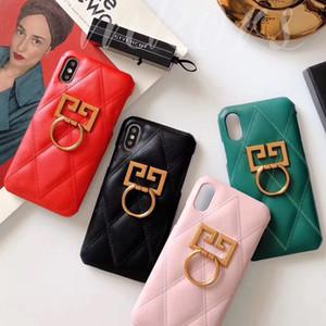Для iPhone X XS MAX XR 8 7 Чехол с ромбовидным рисунком из искусственной кожи для телефона с золотой отделкой Поворотное кольцо противоскольжения 7Plus 8plus