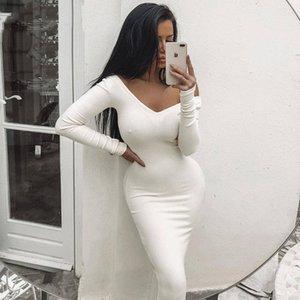 NewAsia de riego con nervaduras del partido del vestido blanco puro bodycon vestido de las mujeres del vestido elegante largo Midi flaco atractivo de los vestidos Club Wear Vestido CX200616