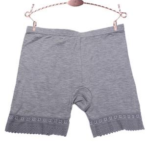 Sin costura Tallas grandes Pantalones cortos de seguridad para mujer Ropa interior de encaje Bragas de cintura media Pantalones cortos de seguridad anti-ligeros