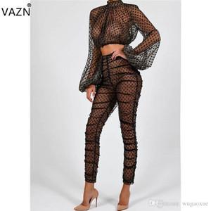 VAZN Printemps 2019 nouvelle mode des femmes 2 pièces à pois Ensembles Sexy Lady O-Neck pleine manches longues Voir au travers Skinny Tenues BS1033