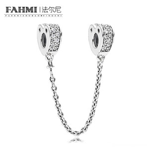 WPENNYI 100% 925 Sterling Silver 797138CZ Authentic Temperament Fashion Glamour Retro Safety Chain Wedding Women Jewelry