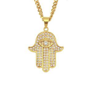 ожерелья Фатимы Хамса рука подвеска Bling CZ замороженные из Злого очарования глаз кубинской цепи для женщин Mens Hip Hop Ювелирных изделий