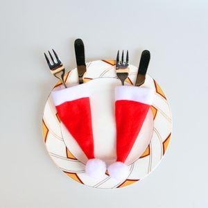 Рождество Hat 10шт Рождество Caps Ножевые Holder Вилка Ложка Карманный Декор сумка Mini Украшение Supplies