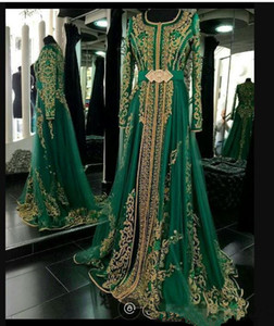 Emerald Green Muslim Formal Evening Dresses Long Sleeves Abaya Designs Dubai Turkish Prom Evening Party Gowns Cheap Moroccan Kaftan