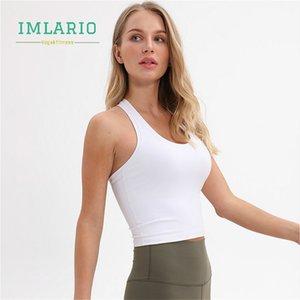 Imlario Slim Fit Gym Yoga Muscle Tank Top Vital Solide Fitness Lauf Crop Top Frauen schulterfrei Sports pendeln T-Shirt ärmel T200605