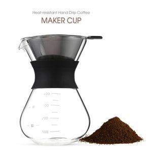 400ml Thicken verre Coffee Pot avec poignée Espresso eau goutte à goutte Cafetière réutilisable Thé filtre Outils