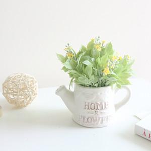 HOME 행운의 꽃과 잔디 시뮬레이션 양각 물 분재 세라믹 가짜 꽃 공예 시뮬레이션 꽃 세트 병