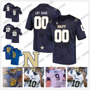 Midshipmen costume 2019 futebol da faculdade real branca Blue Angels 9 Zach Abey 10 Malcolm Perry Staubach 6 Perry Olsen Homens Juventude Jersey 4XL