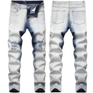 Street Style Skinny Pencil Pants 2020 Mens Designer Hole Jean Gradient Color Jeans Fashion Hip Hop