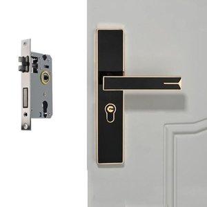 Silencio magnético fuerte de aleación de aluminio interior bloqueo de la puerta manija de puerta del dormitorio de hardware Lock, Color: Negro Oro Grande 50 cuerpo de la cerradura