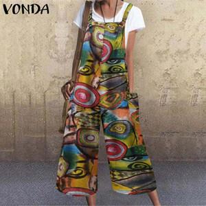 Overalls For Women'Jumpsuits 2020 VONDA Casual Rompers Summer Wide Leg Pants Vintage Print Long Trousers Jumpsuits Plus Size