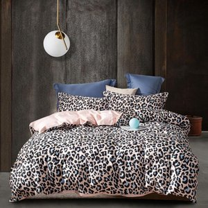 Bedding Set Leopard Printed Bed Sheets Egyptian Cotton Bed Linen Soft Bedding Satin White Duvet Cover Set Pillowcases Bedspreads
