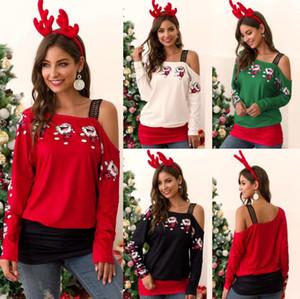 Fashion Designer de Noël T-shirts femmes lambrissé dentelle bretelles manches longues Hauts Casual Loose Women Vêtements de Noël