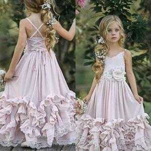 2020 Prom Dress bambini Bella rosa 3D pizzo Boho Flower Girl Dresses Per sposa in pizzo con scollo a V appliquéd Bambino Pageant abiti in chiffon