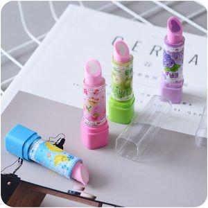 Precio barato caliente forma de lápiz labial único borrador de lápiz color de fruta popular color de gatito chicas jóvenes aman borrador para regalo