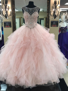 Luxury Blush Pink Crystal Quinceanera Dresses Ball Gown Sheer Scoop Neck Tulle Rhinestone Beaded Ruffles Tiered Lace Up Back Prom Dresses