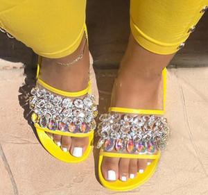 Siz grande US6-11 verano Europa y América sexy rhinestone de cristal zapatillas de mujer en espiga zapatos de playa de moda cómoda diapositiva