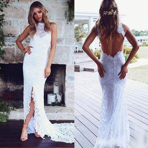 Abiertos atractivos detrás de la sirena de la boda vestidos de la raja del frente del cordón lleno 2020 de Long Beach espina de pescado de Boho Vestidos de novia barato de cuello alto vestido de la novia País