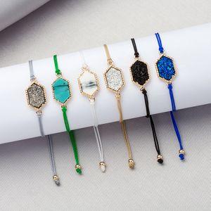 Moda Druzy braccialetti di pietra chram Per le donne Guarigione Geometrica Pietra naturale regolabile Corda Corda catene Braccialetto Gioielli uomo alla rinfusa